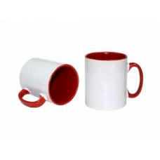 İçi ve kulpu Kırmızı renkli Beyaz Kupa
