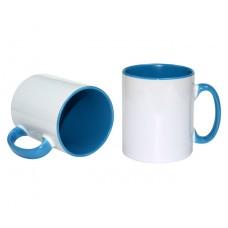 İçi ve kulpu Mavi renkli Beyaz Kupa