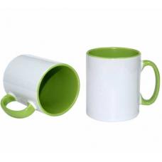 İçi ve kulpu Yeşil renkli Beyaz Kupa