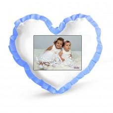Beyaz kalp mavi fırfırlı Yastık