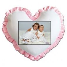 Beyaz kalp Pembe fırfırlı Yastık